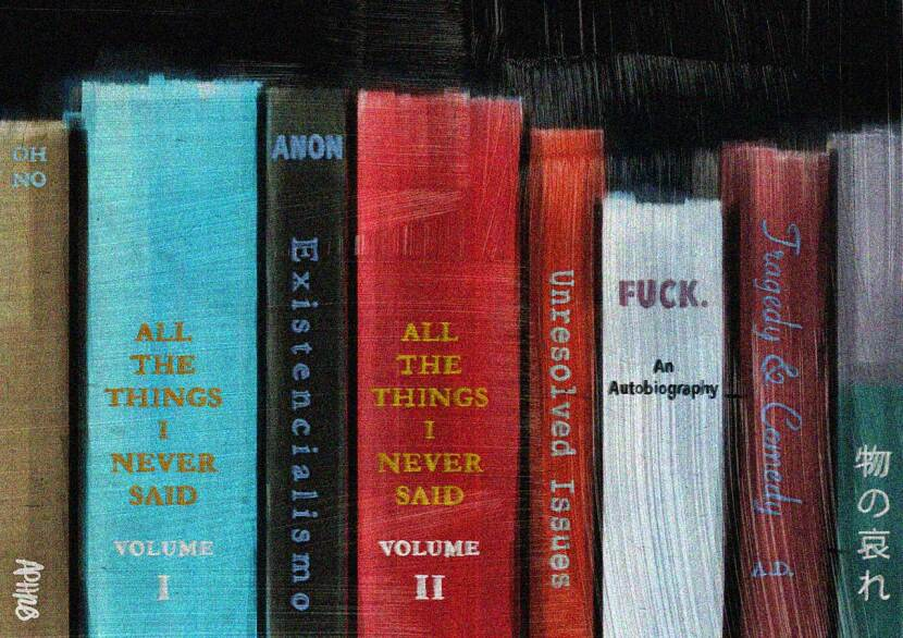 Spines of books with quirky titles autobiographical titles. Digital painting by Aphrodite Delaguiado.