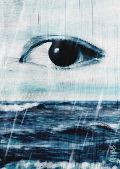 A surreal image of an eye in the sky above the raging ocean, crying rain of tears. Digital painting by Aphrodite Delaguiado.