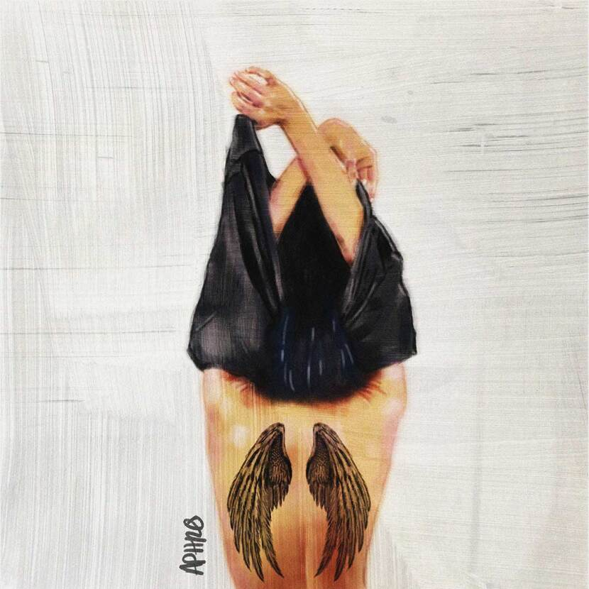 A woman taking off her shirt revealing a tattoo of wings on her back. Digital painting by Aphrodite Delaguiado.