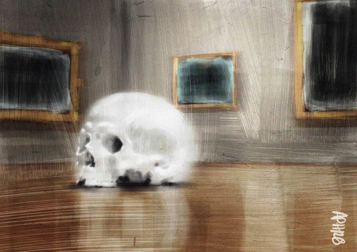 A massive skull on the floor of an art gallery surrounded by dark paintings. Inspired by the art of Ron Mueck. Digital painting my Aphrodite Delaguiado.