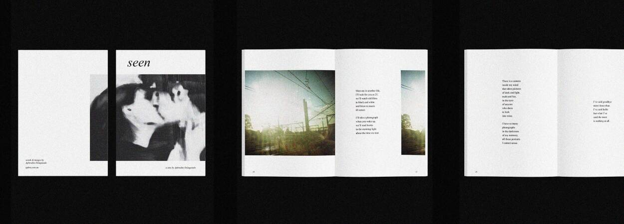 Cover and page spreads of Seen, a zine. Designed, written and illustrated by Aphrodite Delaguiado.
