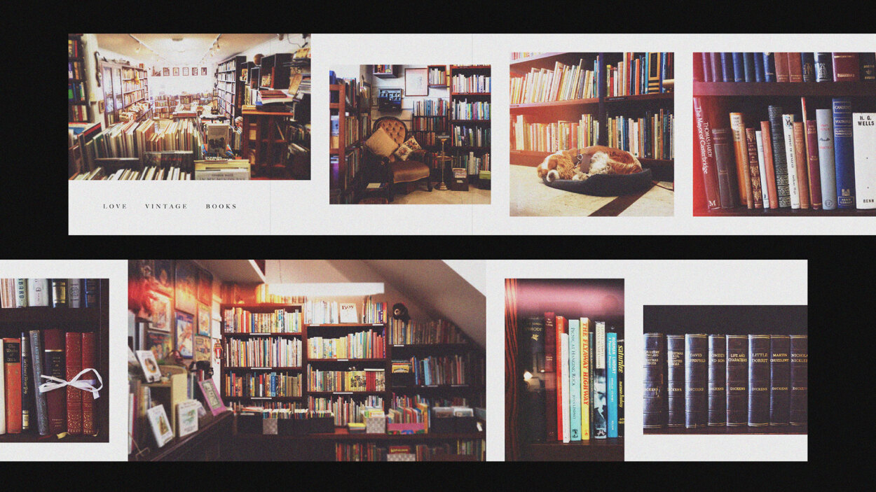 Photo collage of the interior of a vintage bookshop. Layout design by Aphrodite Delaguiado.